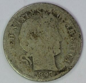 1897 S 10C BARBER DIME 90  SILVER RAW UNCERTIFIED US COIN ALBUM FILLER