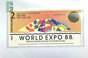 1988 AUSTRALIA BICENTENNIAL TWO EXPO DOLLARS WORLD EXPO LEGAL TENDER PAPER NOTE