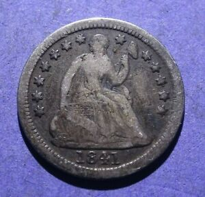 1841 O SEATED LIBERTY HALF DIME VG/F BETTER DATE