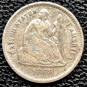 1868 S SEATED LIBERTY HALF DIME 5C HIGHER GRADE VF 20900