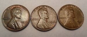1946 P D S LINCOLN WHEAT CENT / PENNY SET    FINE OR BETTER