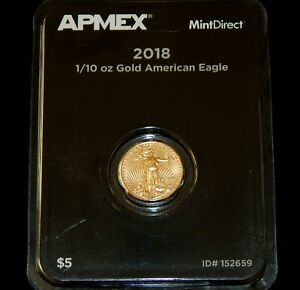 2018 1/10 OZ .9167 FINE GOLD AMERICAN EAGLE APMEX MINT DIRECT $5 COIN LIMITED