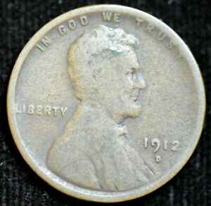 1912 D LINCOLN WHEAT CENT PENNY GOOD CONDITION  IN USA C4330