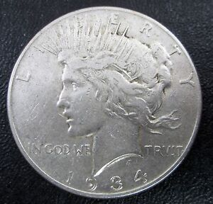 1934 P PEACE SILVER DOLLAR ONE $