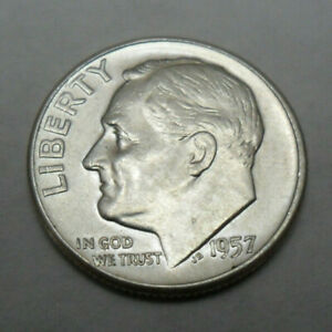 1957 P ROOSEVELT DIME  90  SILVER    AU   ABOUT UNCIRCULATED