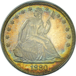 1880 SEATED LIBERTY HALF DOLLAR PCGS PR 64 SLIGHT TONING POOR STRIKE