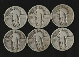 1925   1930 LOT OF 6 DIFFERENT DATE STANDING LIBERTY QUARTERS 90  SILVER
