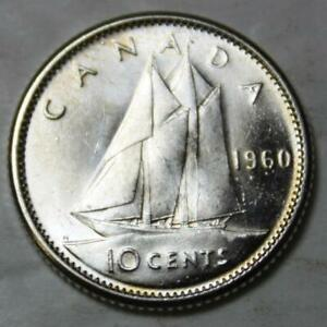 CANADA 1960 SILVER 10 CENTS CHOICE BRILLIANT UNCIRCULATED LUSTROUS