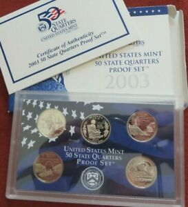 2003 US MINT STATE QUARTERS PROOF SET WITH BOX & COA 5 COINS   COMBINED SHIPPING