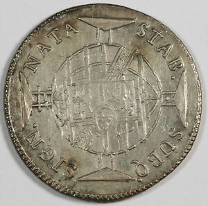 BRAZIL 1816 960 REIS 960R SILVER COIN XF STRUCK OVER SPANISH COLONY 8 REALES