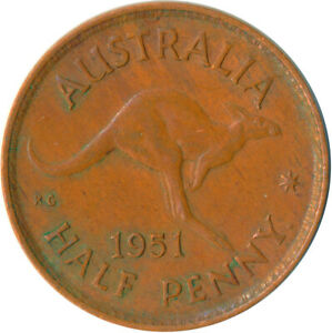1951 AUSTRALIA   HALF PENNY OF KING GEORGE VI     WT5497