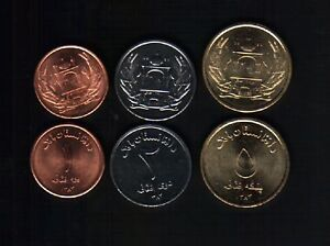 AFGHANISTAN 1 2 5 AFGHANIS NEW 2004 UNC US EU FORCES 3 PCS COMPLETE COIN SET