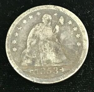 1853 SEATED LIBERTY QUARTER WITH ARROWS & RAYS SILVER COIN