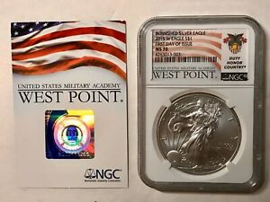 2015 W BURNISHED SILVER EAGLE MS 70 FIRST DAY OF ISSUE FLAG   DUTY HONOR COUNTRY