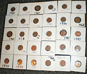 LOT OF 79  LINCOLN PENNIES ALL IN HOLDERS AND CARRY CASE 1949 1990  NICE