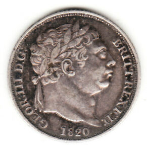 1820 GREAT BRITAIN GEORGE III STERLING SILVER SIXPENCE. EF