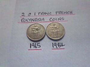 2 @ 1 FRANC FRENCH POLYNESIA COINS 1965   1984 [ C 571 ] GOOD GRADE COLLECTABLES
