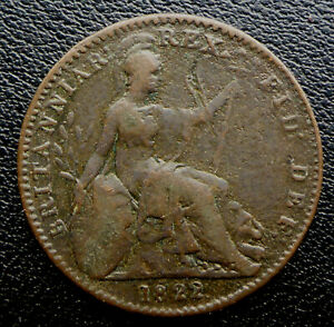 GREAT BRITAIN 1822  KING GEORGE IIII FARTHING 197 YEARS OLD CANADA SHIP $1.99 US