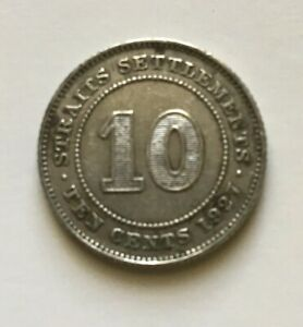 1927 STRAITS SETTLEMENTS GEORGE V SILVER 0.600 COIN   10 TEN CENTS KM29B