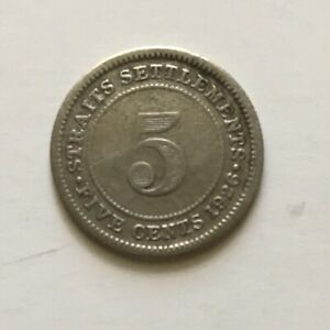 1926 STRAITS SETTLEMENTS GEORGE V SILVER 0.600 COIN   5 FIVE CENTS KM36