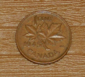 1945 KING GEORGE VI CANADIAN CANADA MAPLE LEAF PENNY 1 CENT COIN CIRCULATED