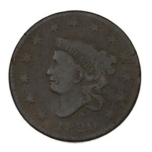 RAW 1820 CORONET HEAD 1C CIRC SMALL DATE EARLY US COPPER LARGE CENT COIN