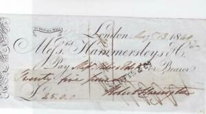 GREAT BRITAIN LONDON 1840 BANK CHEQUE REF R15898