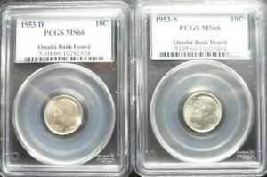 1953 D/S  SET OF ROOSEVELT DIMES  PCGS  MS 66  OLD BLUE HOLDERS