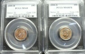 2000 D PAIR OF ROOSEVELT DIMES PCGS  MS 68 /MS68FB  OLD BLUE HOLDER