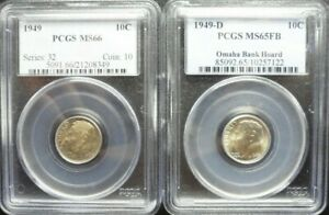 1949 P/D SET OF ROOSEVELT DIMES  PCGS  MS66 /MS65FB OLD  BLUE HOLDERS
