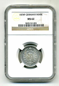 GERMANY MARK 1874 F .900 SILVER NGC MS 62