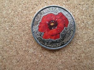 CANADA 2015 WWII COLOURED REMEMBRANCE DAY FLANDERS FIELDS POPPY 25 CENT COIN