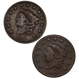 RAW 2 PACK 1830 CORONET HEAD 1C LARGE DATE & SMALL DATE COPPER LARGE CENT LOT