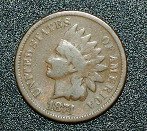 1874 INDIAN HEAD ONE CENT CHOICE BROWN GOOD