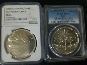 Click now to see the BUY IT NOW Price! IRAQ LOT OF TWO SILVER DINARS 1972 1973 NGC PCGS MS 66