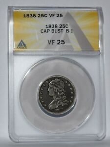 1938 CAPPED BUST QUARTER B 1 ANACS VF 25