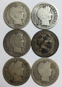 1910 1913 1914 1914 D 1915 AND 1916 S 10C BARBER DIMES 90  SILVER