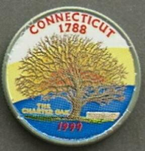 CONNECTICUT STATE QUARTER COLORIZED BACKGROUND  THE CHARTER OAK 1999  1447