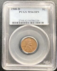 1946 D LINCOLN WHEAT CENT 1C PCGS MS 62 BN 21411
