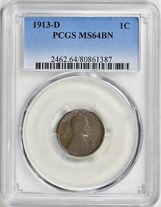 1913 D LINCOLN CENT PCGS MS 64 BN