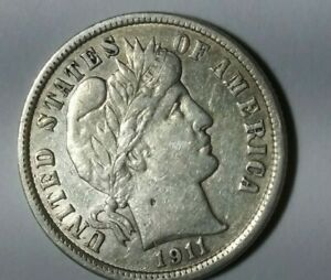 1911 D BARBER DIME IN XF/AU CONDITION