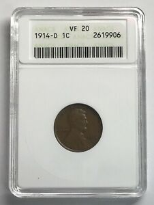 1914 D LINCOLN WHEAT PENNY   ANACS VF20