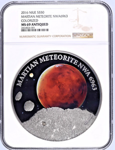 Click now to see the BUY IT NOW Price! NGC MS69 2016 NIUE MARTIAN METEORITE 1KILO NWA6963 COLORIZED S$50 COA26