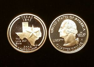 2004 S TEXAS   90  SILVER PROOF   STATE QUARTER    CRISP AND CLEAN SINGLE COINS