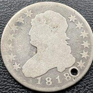 1818 CAPPED BUST QUARTER DOLLAR 25C  CIRCULATED VG HOLED  22272