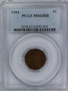 1904 PCGS 1C INDIAN HEAD CENT/PENNY MS63RB ATTRACTIVE RED BROWN COLOR