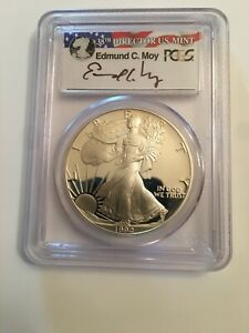1992 S $1 PROOF SILVER EAGLE COIN PCGS PR69 DCAM    EDMUND MOY SIGNED