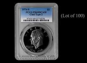 Click now to see the BUY IT NOW Price! [LOT OF 100]   1976 S CLAD TYPE 2 EISENHOWER DOLLARS PCGS PR69DCAM: DEALER LOT