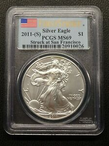 2011 S AMERICAN SILVER EAGLE PCGS MS69 FIRST STRIKE SAN FRANCISCO