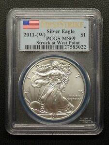 2011 W AMERICAN SILVER EAGLE PCGS MS69 FIRST STRIKE WEST POINT
